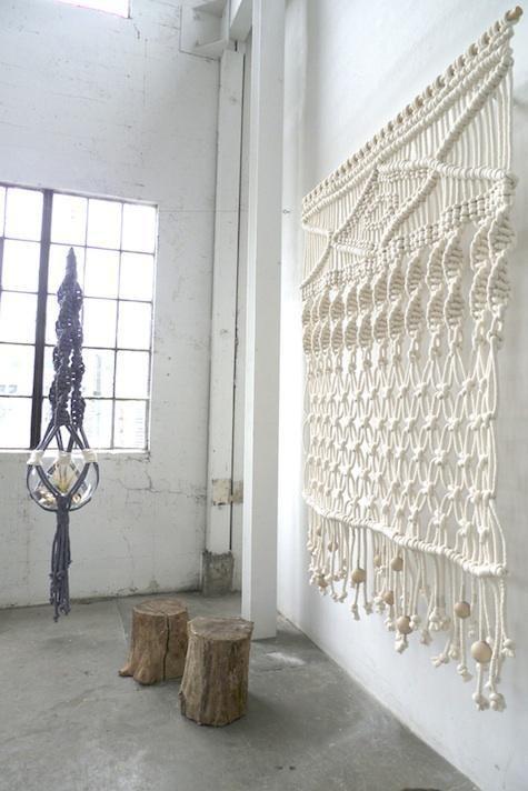 large white macrame wall hangings - wall hanging weave wall hanging yarn-f80195